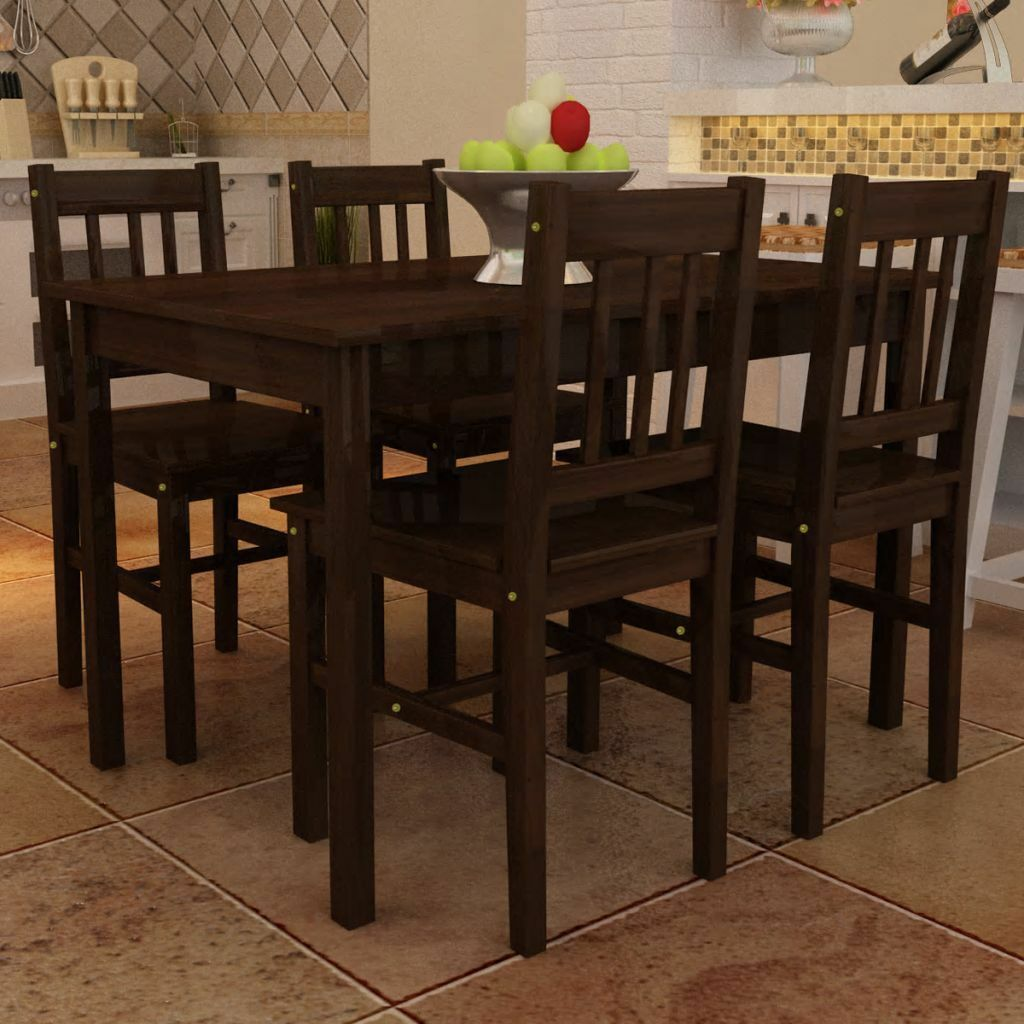 Dark Wood Furniture 5 Piece Brown Wood Dining Table Set 4 Chairs Kitchen Room Breakfast Furniture