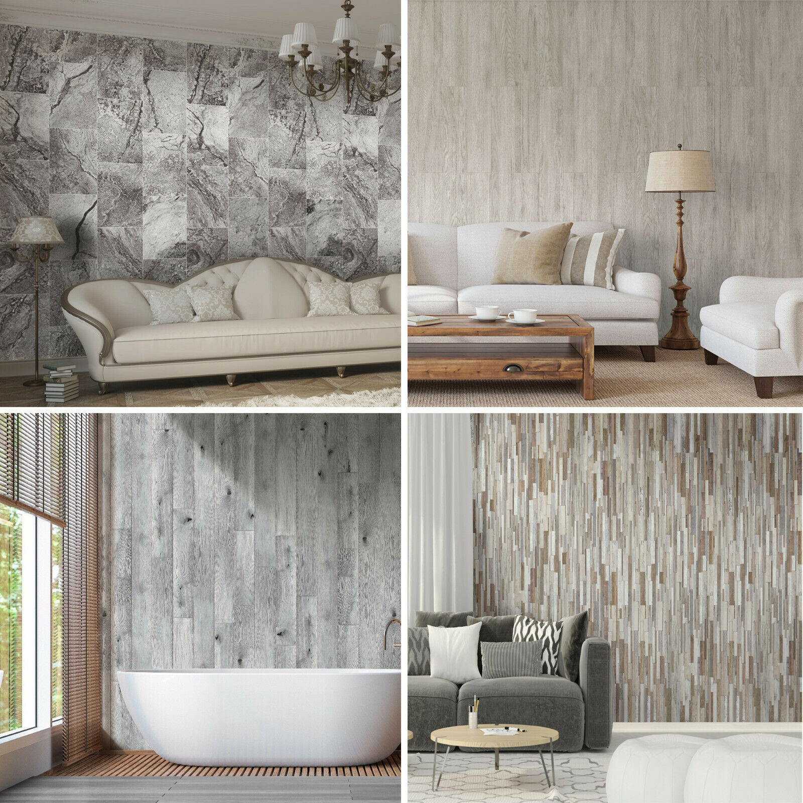 Wood Effect Modern Bathroom Cladding Grey White Tile Pvc Shower Wet Wall Panels Ebay