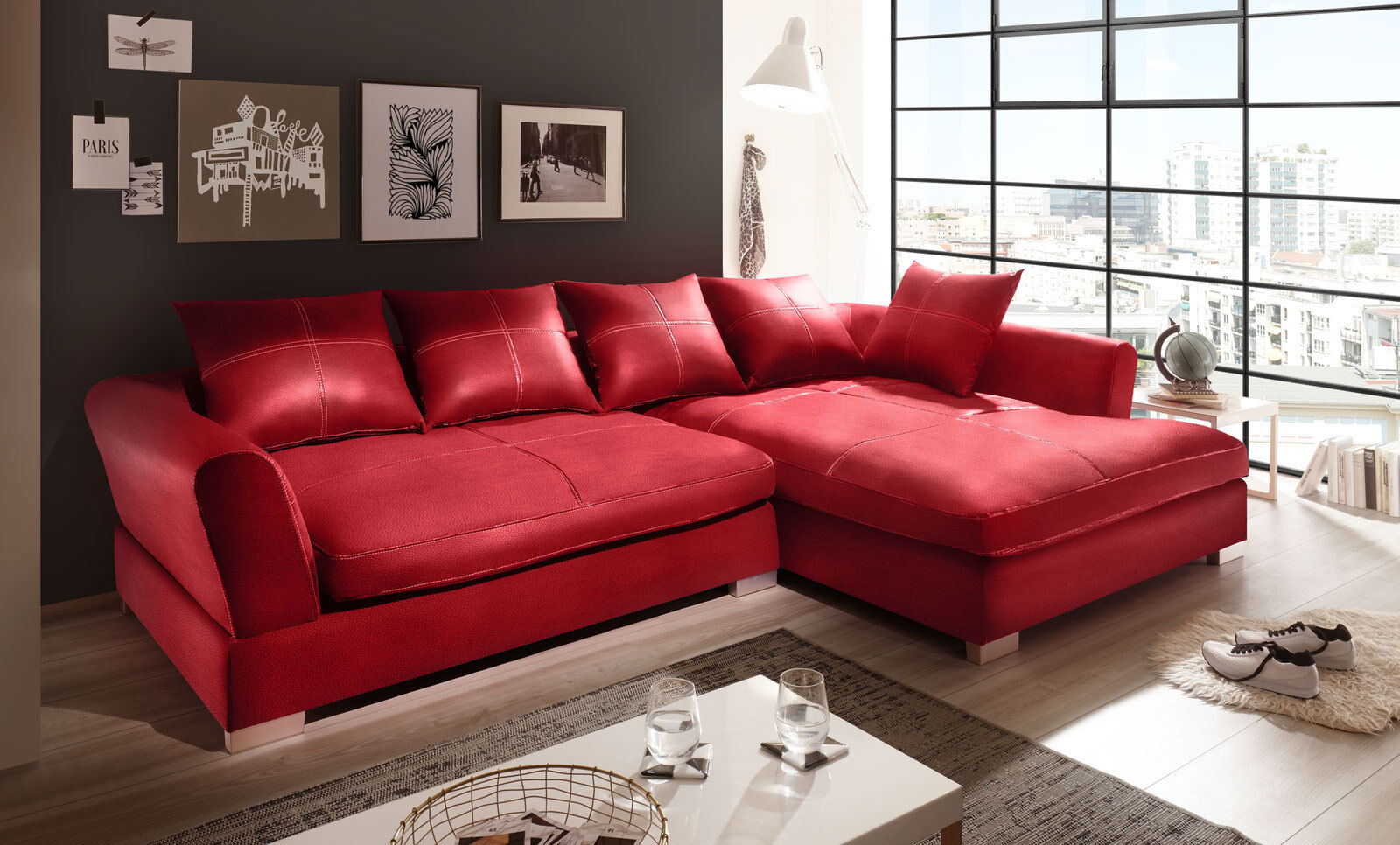 Big Couch Garnitur Design Couchgarnitur Rot Big Sofa K Leder Ecksofa