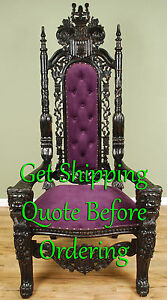 Carved Mahogany King Lion Gothic Throne Chair Black Finish ...