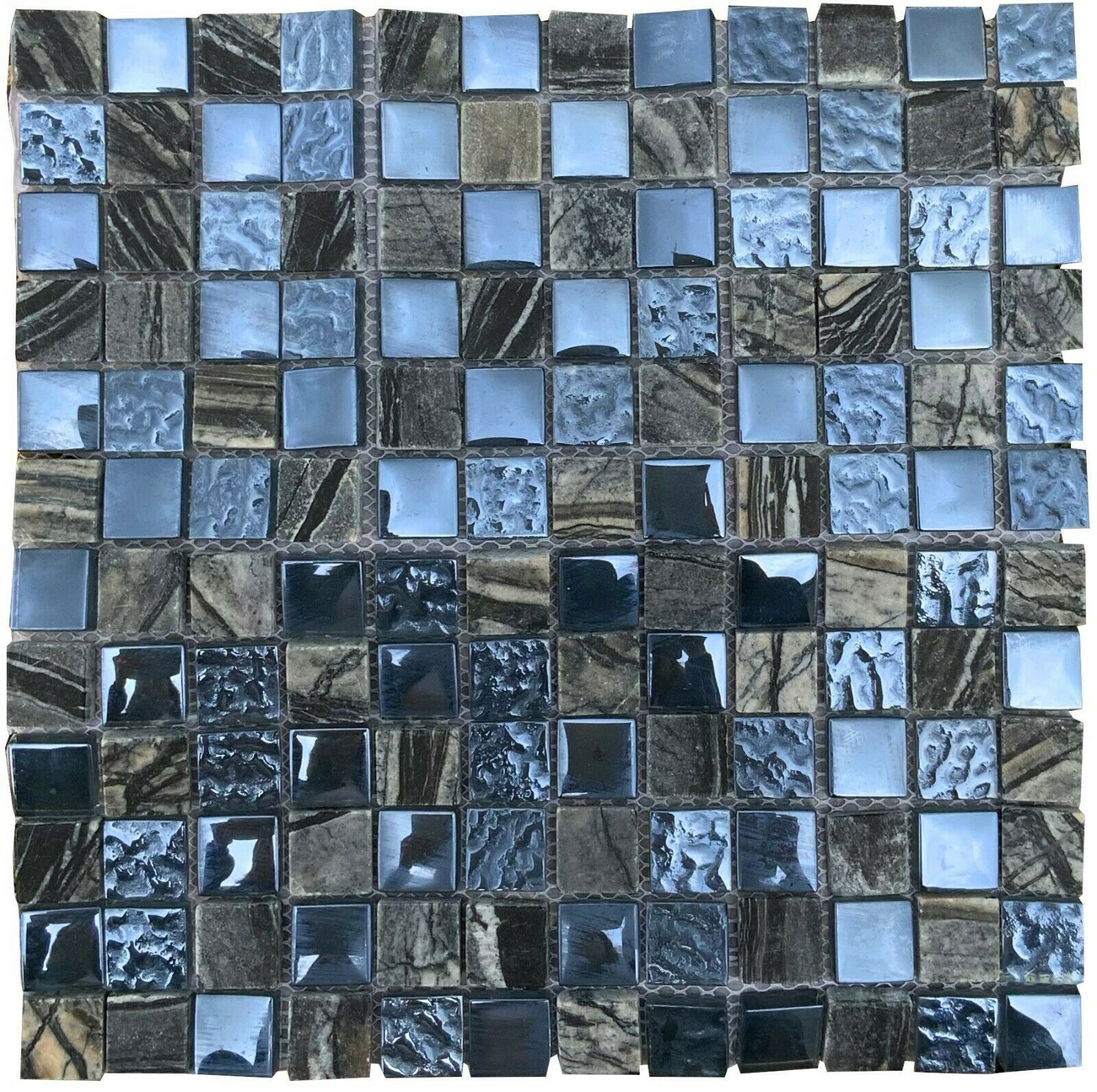 Oxide Blue Grey Polished Glass Mosaic Tile Bathroom Kitchen Wall Mosaics Tiles For Sale Ebay