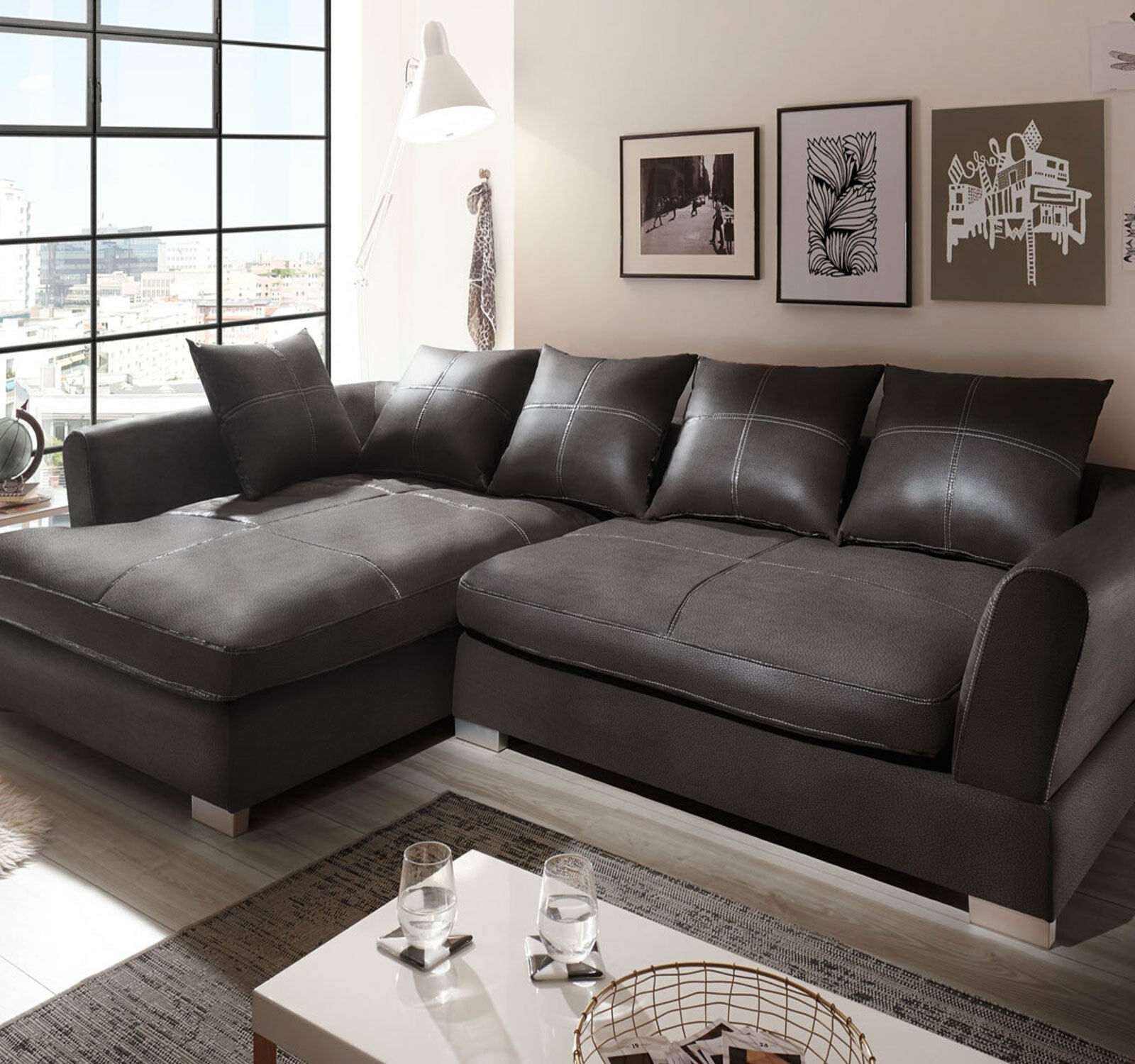 Big Couch Garnitur Design Couchgarnitur Anthrazit Sofa K Leder Eck Big Sofa