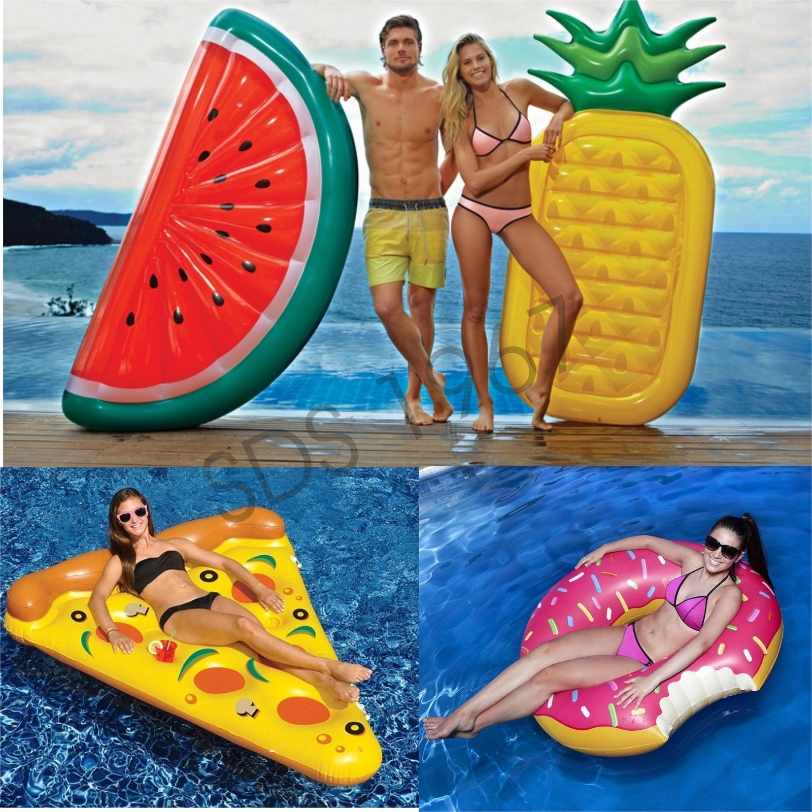 Piscina Toy Adult Swim Water Toy Watermelon Pineapple Pizza Doughnut