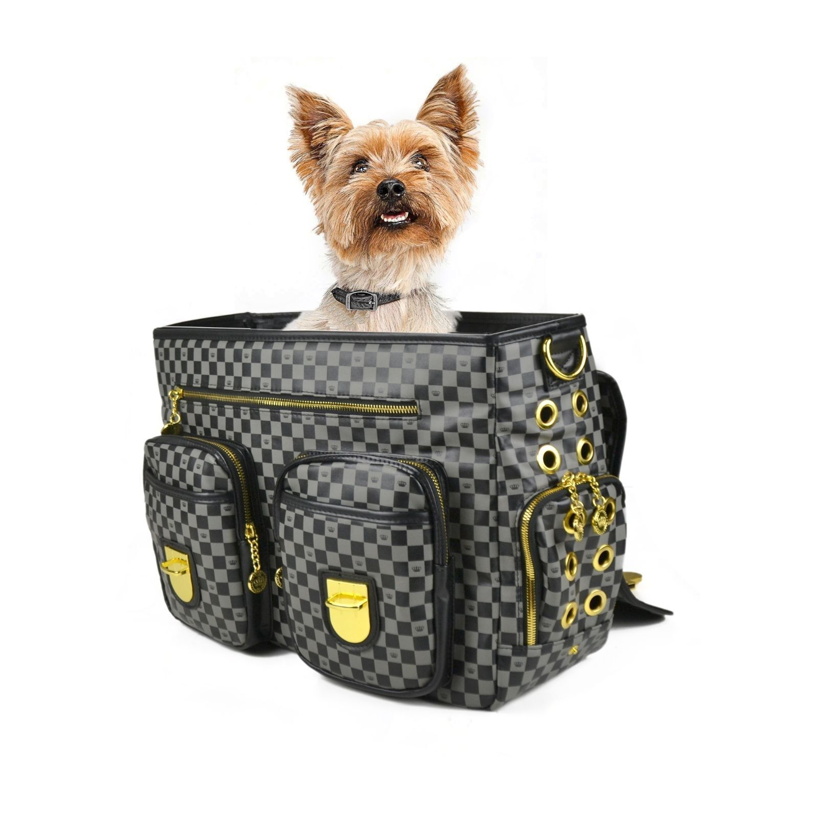 Pet Carrier On Sale Dogs Of Glamour Luxe Check Messenger Gold And Black Dog Carrier Tote Sale