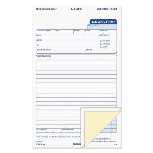 TOPS Triplicate Job Work Order Form 3868 Top3868 eBay - work order form