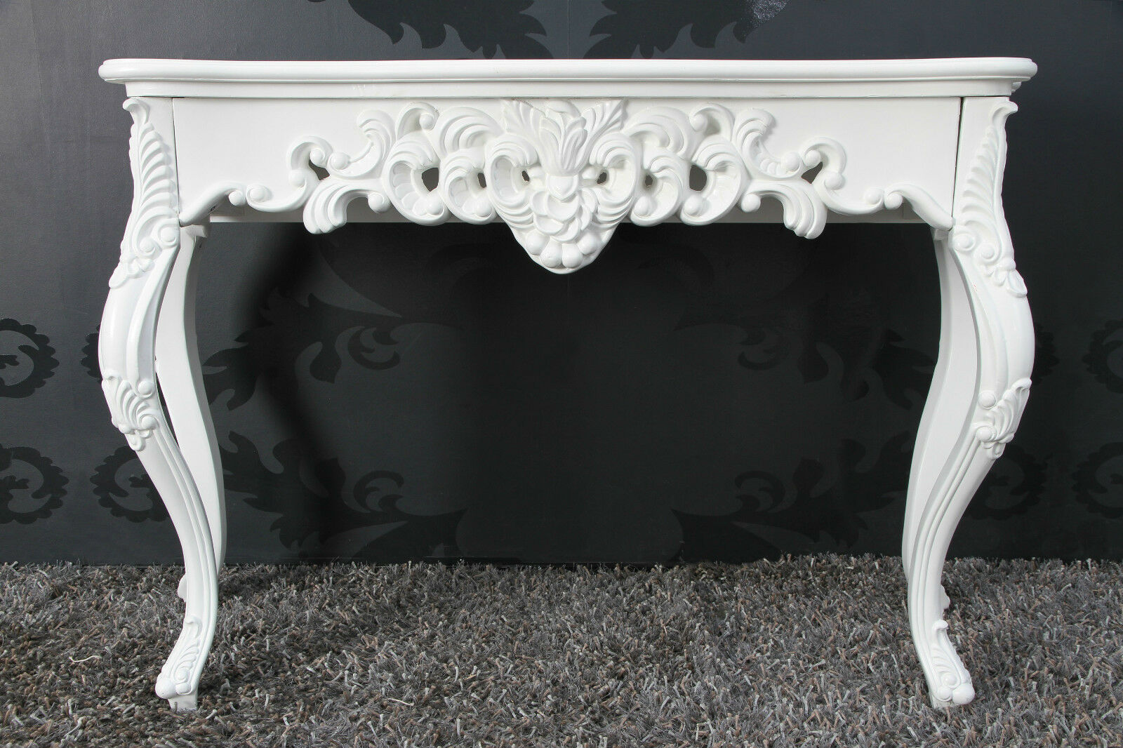 Console White Antique Finish Luxurious Luxuriant Sideboard Baroque Rococo Shelf 85cm Ebay