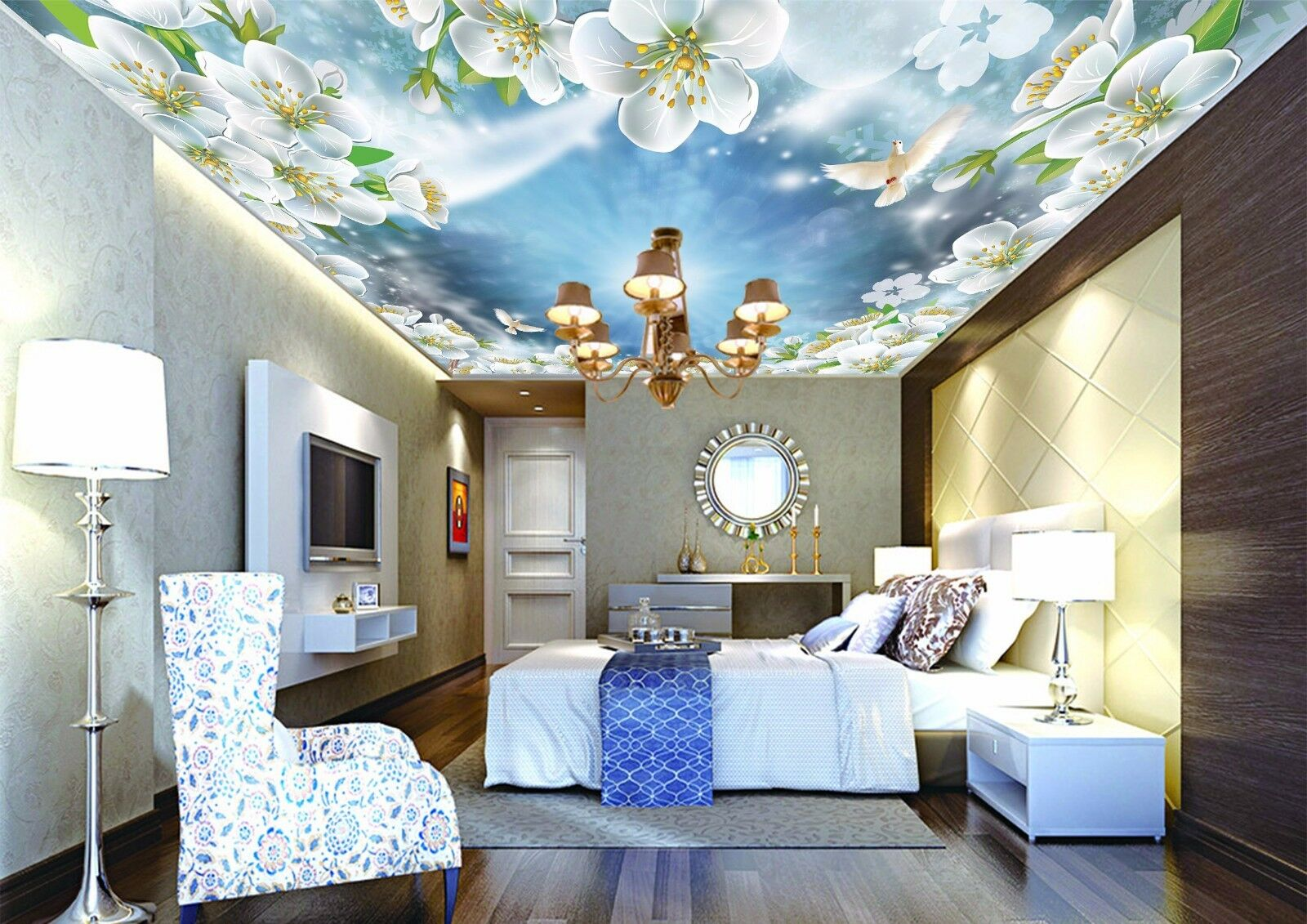 Fotowand Papier 5 Sky Dove Flowers Pretty 3d Ceiling Wall Ca Murals Wall