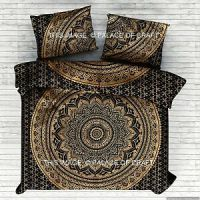 Gold Black Ombre Mandala Blanket Duvet Doona Cover Royal ...