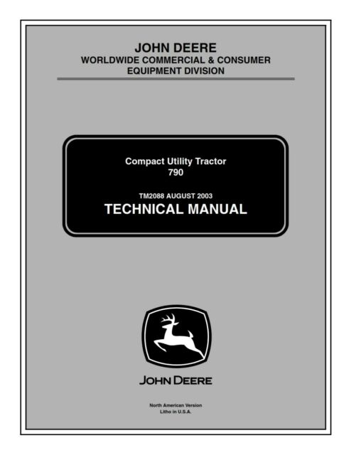 John Deere 790 Compact Utility Tractor Service Repair Technical