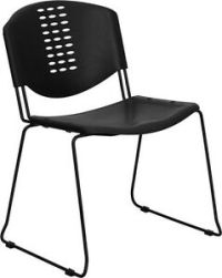 Heavy Duty Black Plastic Stack Office Chair - Waiting Room ...