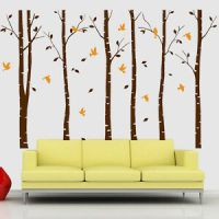 Large Forest Trees Birds Home Art Vinyl Living Room Wall ...