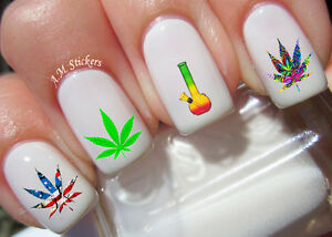 Marijuana Nail Art Stickers Transfers Decals Set Of 40 Ebay