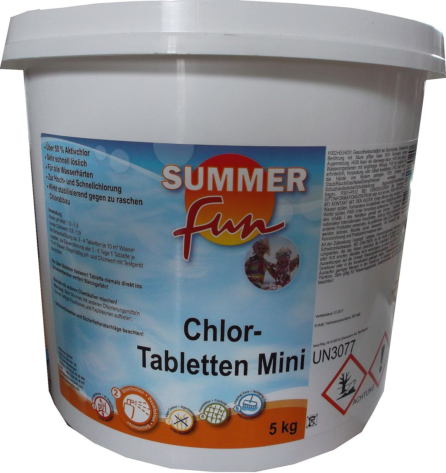 Chlortabletten Mini Pool Summer Fun 502010109 Chlor Tabletten Mini 5 Kg Eimer