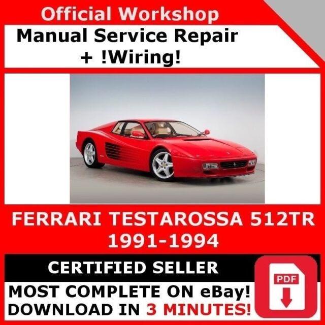 factory Workshop Service Repair Manual Ferrari Testarossa 512tr 1991