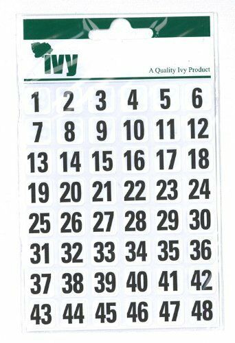 Ivy 1-100 Number Labels Stickers Numeric Self-adhesive Black