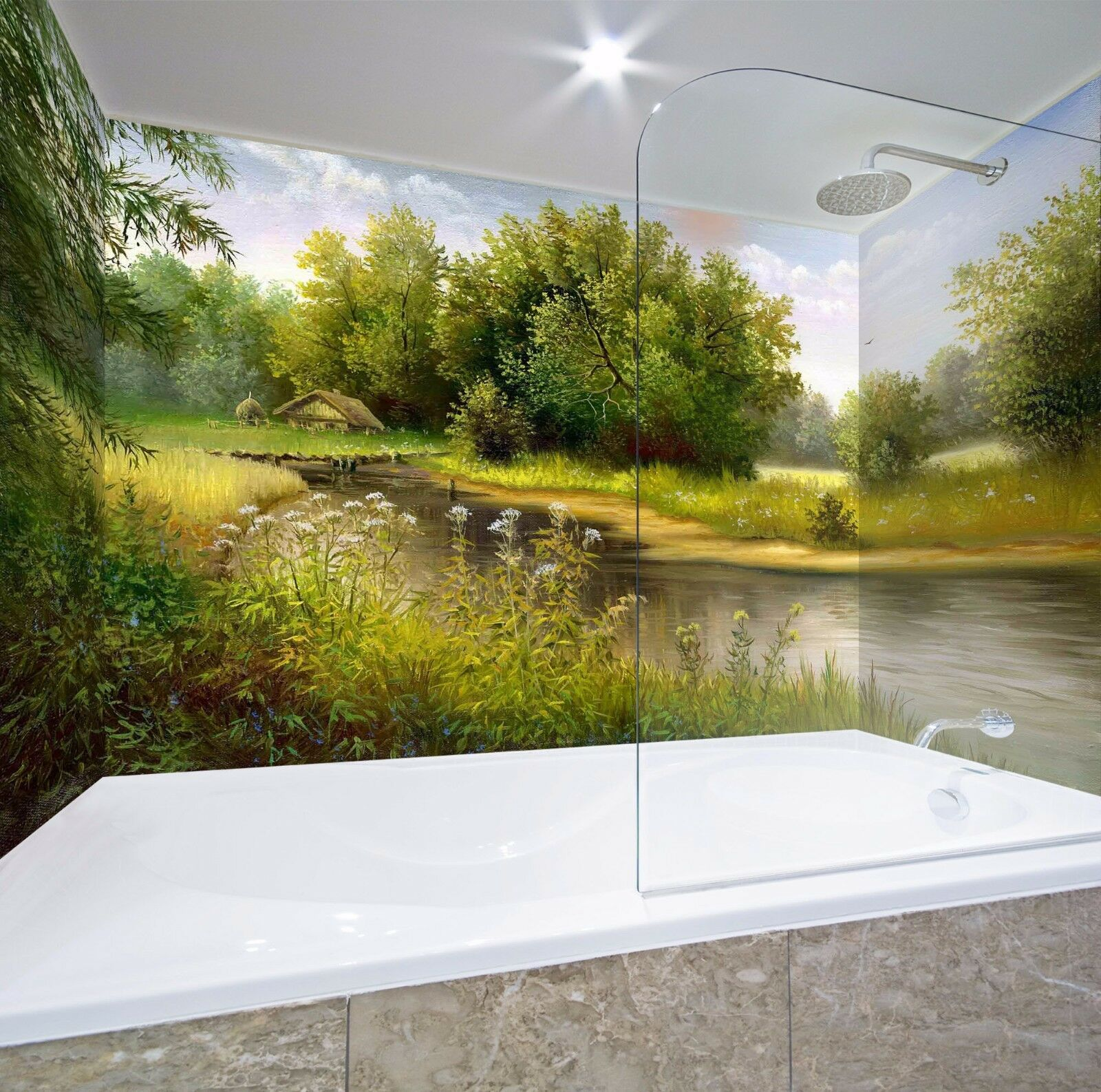 Wallpaper Murals For Bathrooms 3d River Oil Wallpaper Bathroom Print Decal Deco Aj Wallpaper Au
