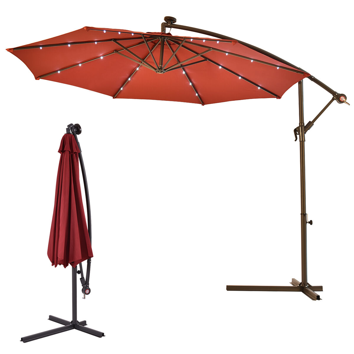 Outdoor Shade Umbrella Outdoor 10 39 Led Hanging Solar Umbrella Patio Sun Shade