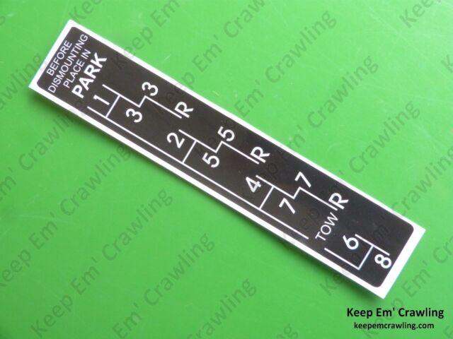 John Deere R40676 Syncro-range Shift Pattern Decal R27892r R34246r