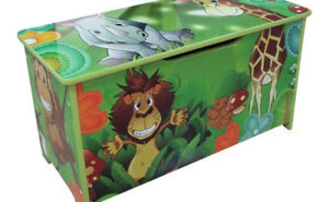 Jungle Green Kids Childrens Wooden Toy Box Bench Storage