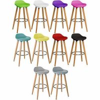 Colourful Bar Stools Wooden Plastic Kitchen Breakfast ...