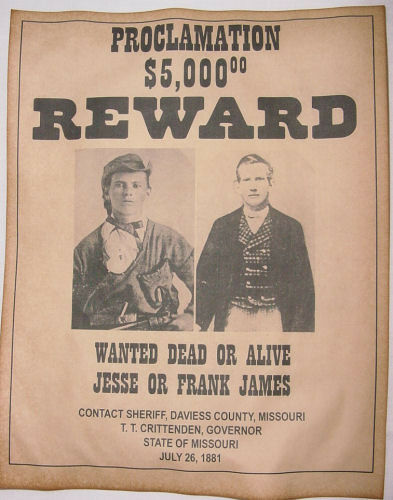 Jesse  Frank James Wanted Poster Western Outlaw Old West eBay