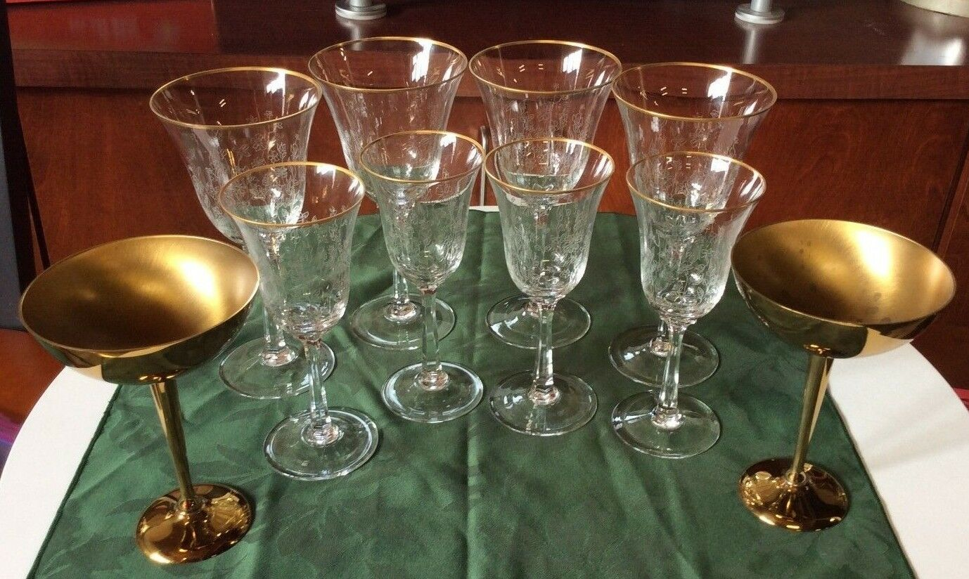 Large Crystal Wine Glasses Lenox Crystal Wine Glasses With Gold Rim 4 Large 4 Small 2