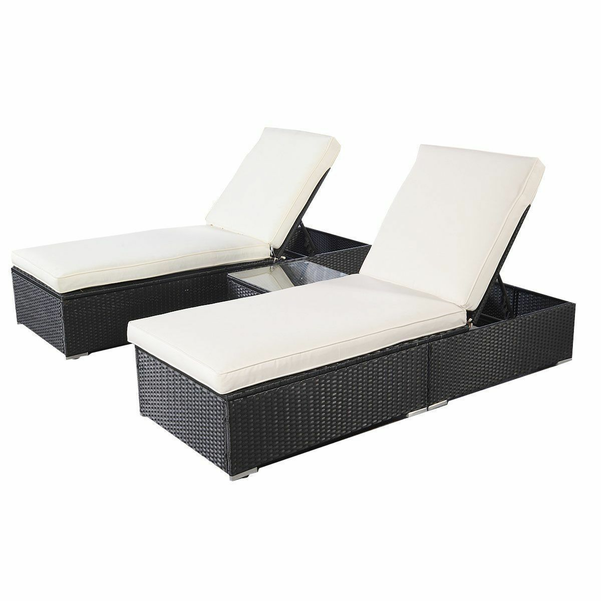 Outdoor Lounge Sofa Wicker Rattan Lounge Sofa Chaise Chair Bed Set Patio