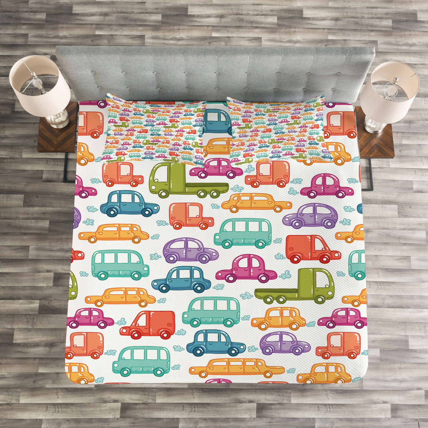 Arielle Bettwäsche Cars Quilted Bedspread Pillow Shams Set Vibrant Doodle Style