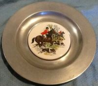 Pewter and Ceramic Tile Wall Hanging Plate | eBay