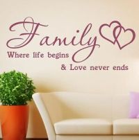 Wall Stickers Quotes Family where life begins Vinyl Home ...