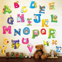 LARGE Animal ALPHABET/LETTER Wall Stickers Nursery Early ...