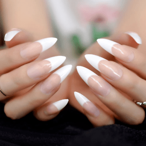 Long Stiletto French Manicure Full Cover Transp Press