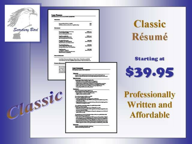 Professional Resume Writing Service - CLASSIC ONE-PAGE RESUME
