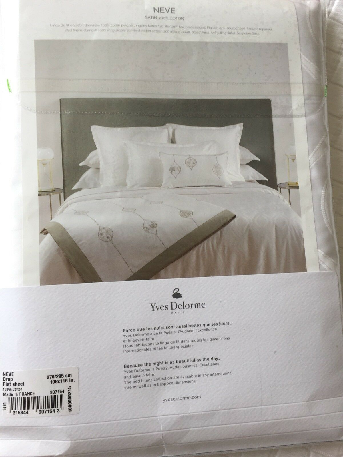 Linge De Lit Made In France Yves Delorme Neve Blanc Damask Satin King Superking Flat Sheet Ebay