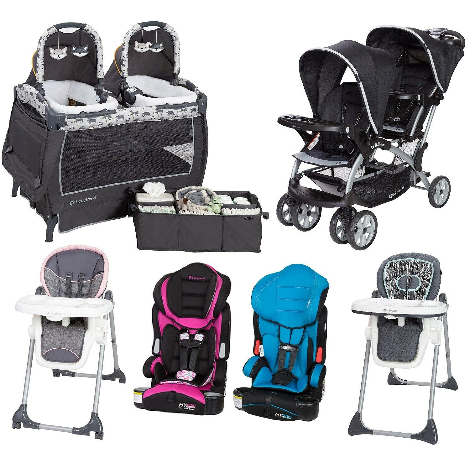 Twin Stroller In Dubai Boy Girl Travel System Twins Combo Set Baby Double Stroller 2 Car Seats 2 Chairs