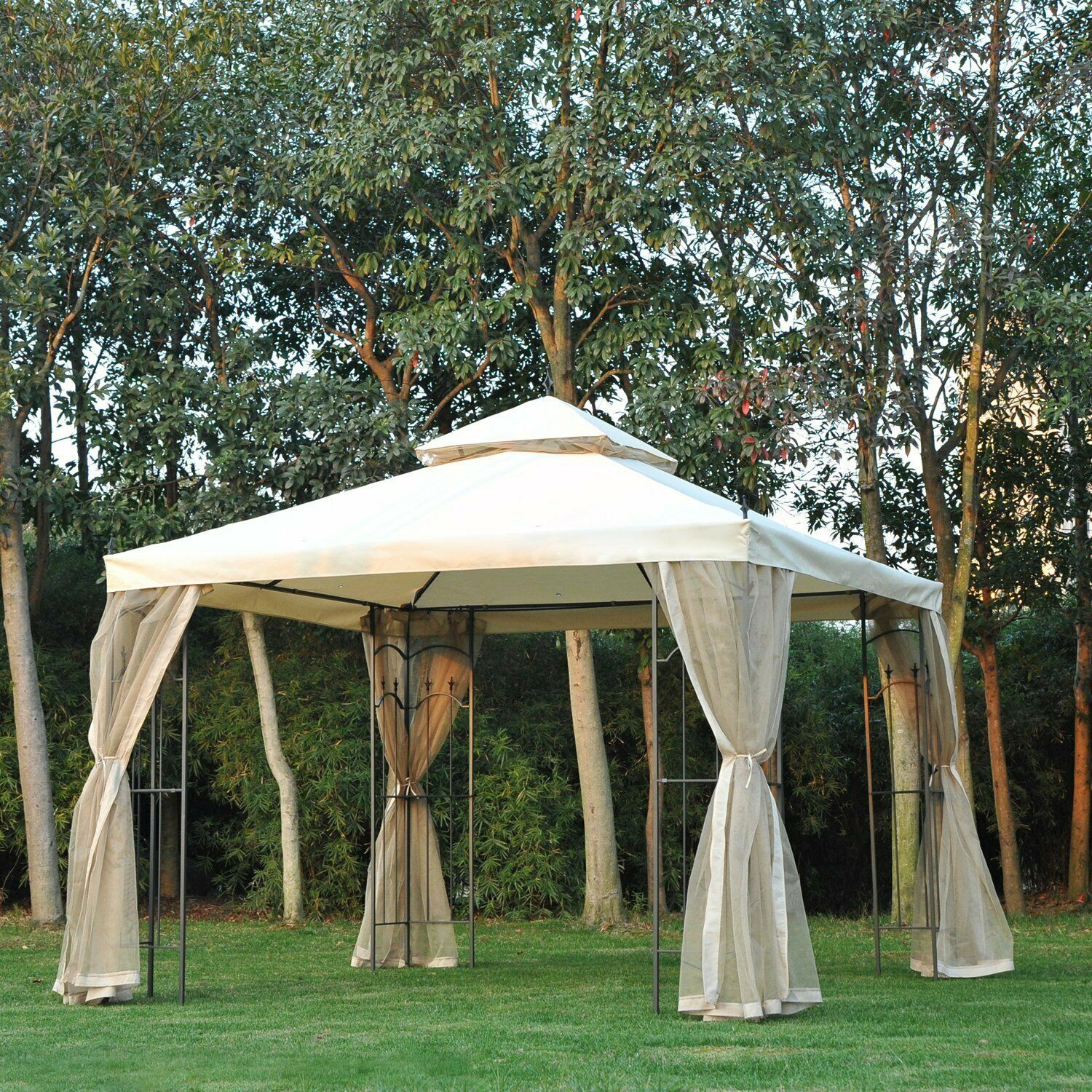 Metal Garden Gazebo Outsunny 10 X Steel Outdoor Garden Gazebo With Mesh Curtains Beige