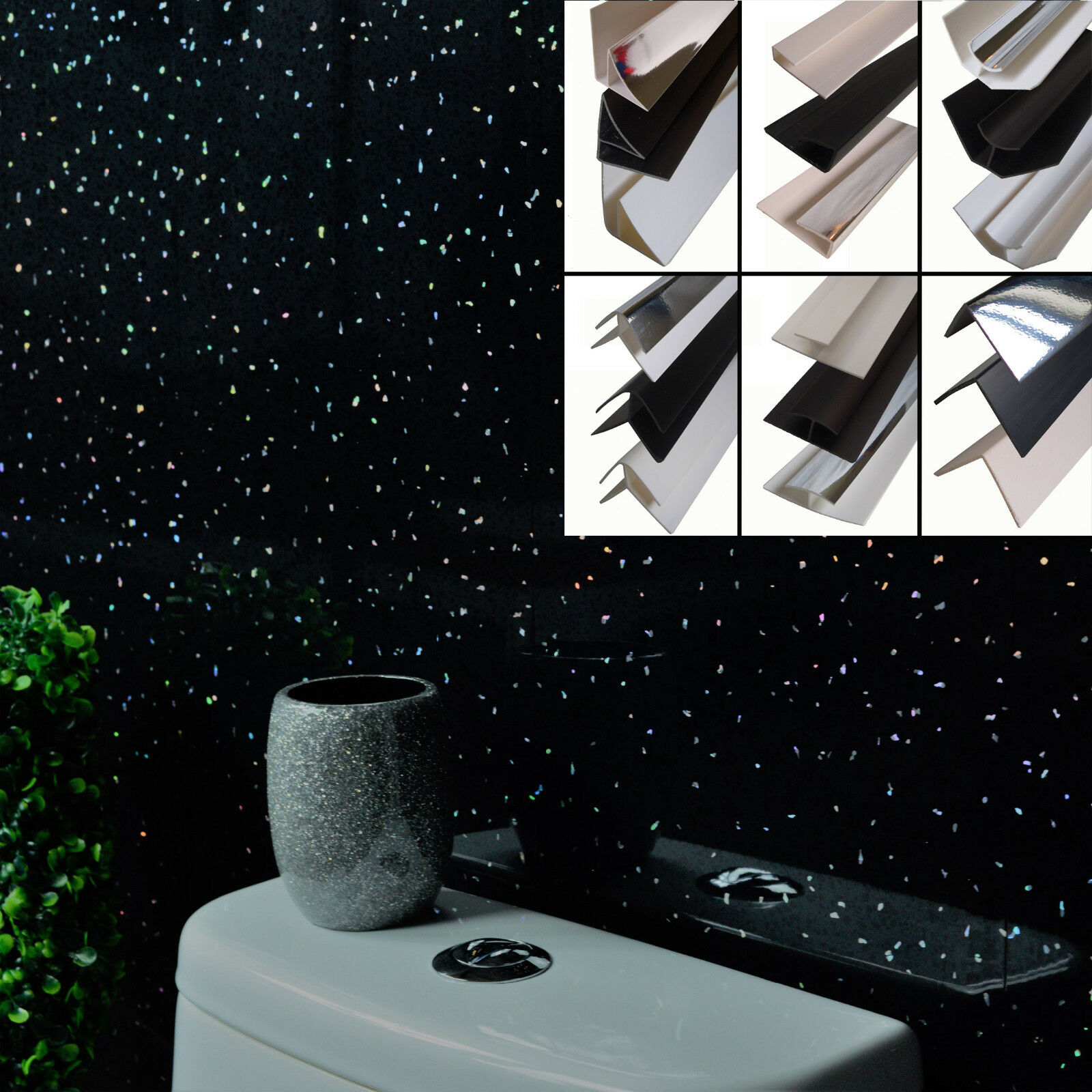 Black Sparkle Wall Panels Pvc Bathroom Cladding Trims Shower Wet Wall Waterproof Ebay