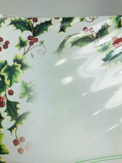 Holly and Ivy Christmas Holiday Letterhead Paper 80 Sheets Red Green