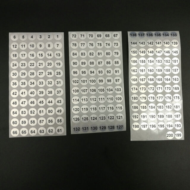 800pcs X Numbered Stickers 1 to 200 Waterproof Number Labels 039