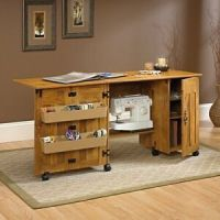 Sauder Sewing Cabinet Machine Table Craft Shelves Storage ...