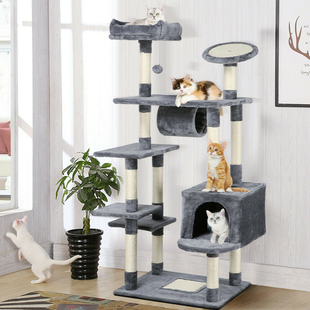 Pretty Cat Furniture Cat Tree Tower Condo Furniture Scratch Post Kitty Pet House Play Gray