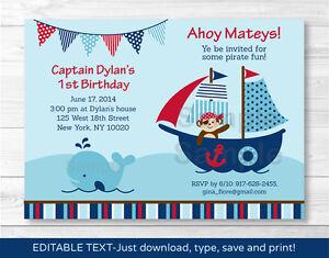 Pirate Monkey Nautical Whale Printable Birthday Invitation