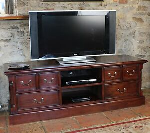 Nara Solid Mahogany Living Room Furniture Widescreen Tv