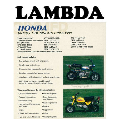 Manual Book by Clymer for Honda Ct110 Postie Bikes for sale online