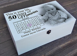 White Personalised Wooden Box 50th Birthday Present