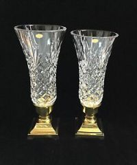 VIntage STIFFEL Crystal Glass & Brass Hurricane Lamp