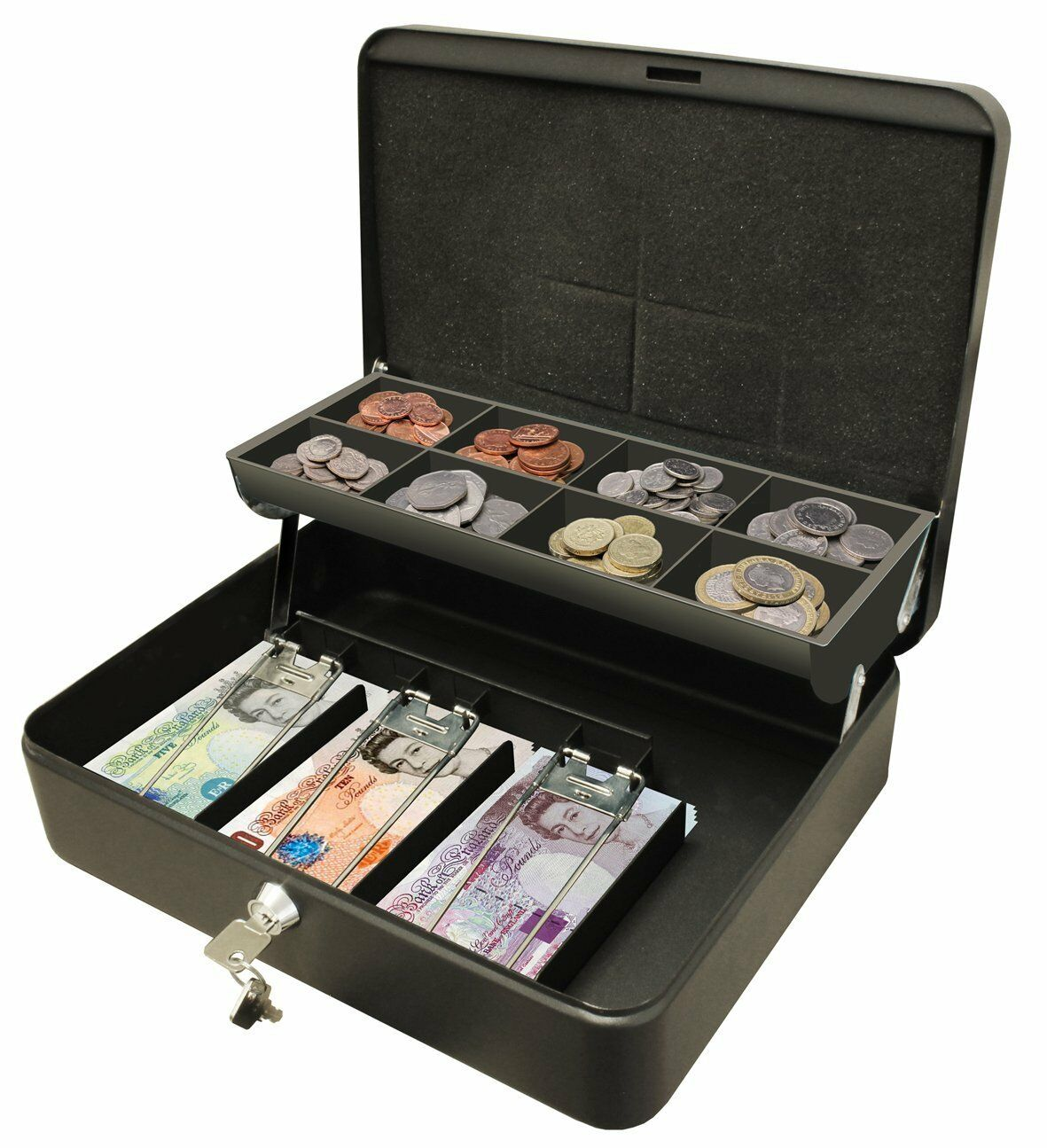 Buy Money Box 12 Quot Petty Cash Box Black Metal Security Money Safe Tray