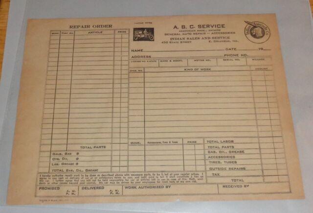 UNUSED 1950\u0027s Indian Motorcycles Repair Order Form ABC Service E