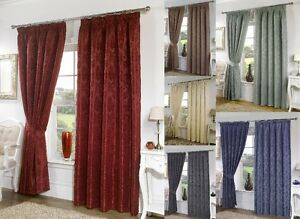 Seattle Plain Damask Print Tape Top Fully Lined Curtains