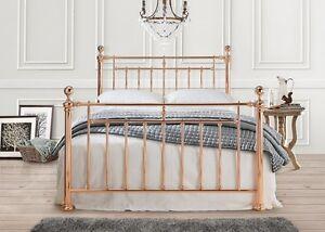 Alexander Rose Gold Vintage Metal Bed Frame 4ft6 Double